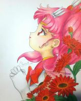 Sailor Chibi Moon and Gerberas by Elveariel
