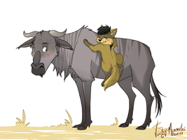 Loupi and the wildebeest by Vicky-Mionelei