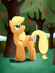 Applejack in apple orchard by Jurassic-Dragon