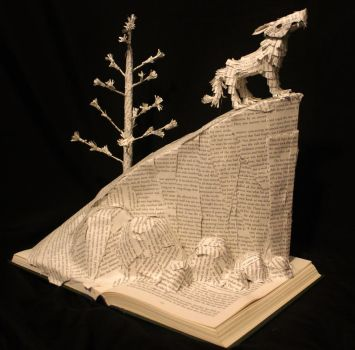 White Fang Book Sculpture by wetcanvas