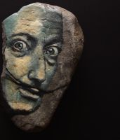 Portrait of Salvador Dali on stone by LosOjosNegros
