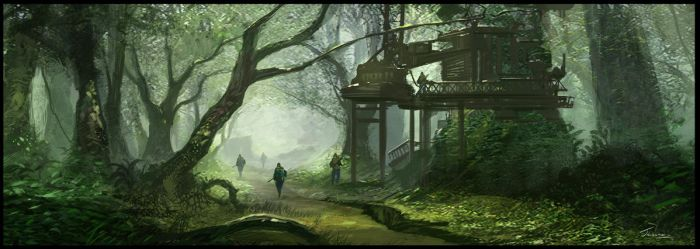 Fortress in Forest by Jessada-Art