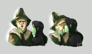 Elphaba and Fiyero by Sketchderps