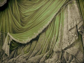 Backdrop Vintage Theater Stage Curtain - Green by EveyD