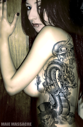 nude side tattoos of maie by Gothface