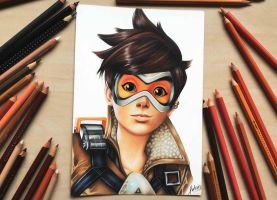 Tracer from Overwatch - Coloured pencil drawing by Polaara