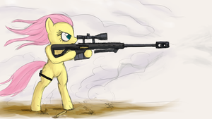 Sketch: Fluttershy with a sniper rifle by Tunskaa