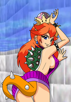 Bowsette in a Virgin Killer Redhead Tanned Alt by majorkerina