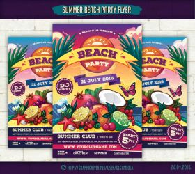Summer Beach Party Flyer Template #3 by olgameola