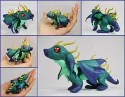FOR SALE ~ Horned Teal Dragon Hatchling Sculpture by LiHy