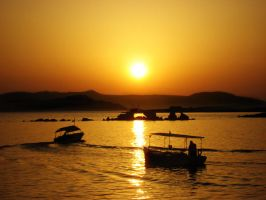 Sunset in Greece by Tinfa