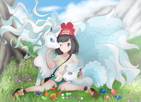 [Pokemon] Alola Vulpix and Ninetales + Speedpaint by KheilaHirai