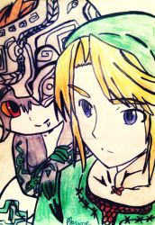 Link and Midna by moonshadow456