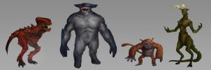 Bipedal Creature Concepts by Taylor-payton