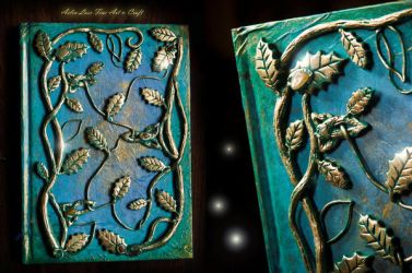Celtic journal with amber and carnelian stones by Gwillieth