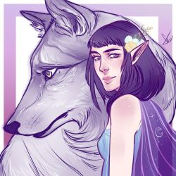 Luthien Tinuviel and Huan by Egobarri
