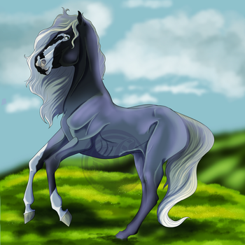 Blue roan mare by ShadowsGrimm