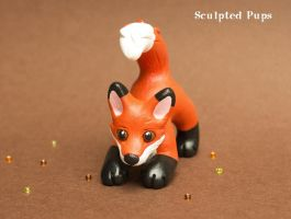 Baby fox kit sculpture by SculptedPups