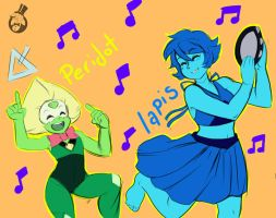 Peridot and Lapis doodle by skyraptor