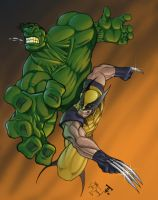 Hulk VS Wolverine Colored by MikeVanOrden