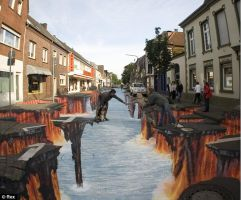 3D chalk drawing: The fallen by jackmoonlight