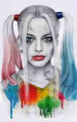 Harley Quinn pencil portrait by Dacdacgirl