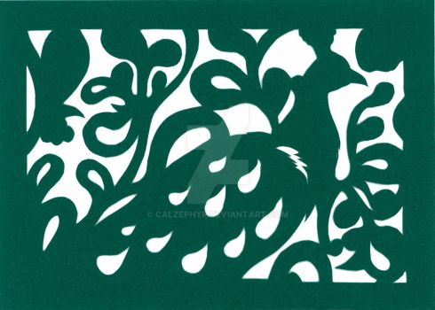 Green Peacock Papercut by calzephyr