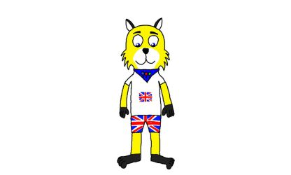 Louie in Union Jack Clothes by LouieYellowFox