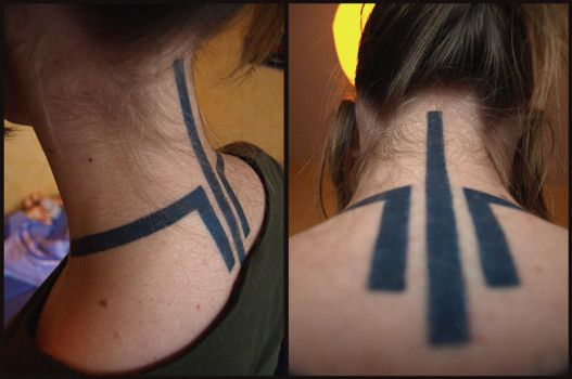Quake 3 Arena Neck Tattoo by art-anti-de