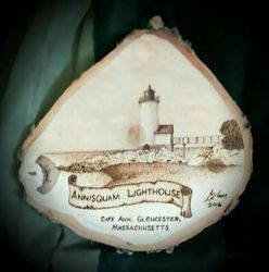 Annisquam Lighthouse - pyrography by ckatt01