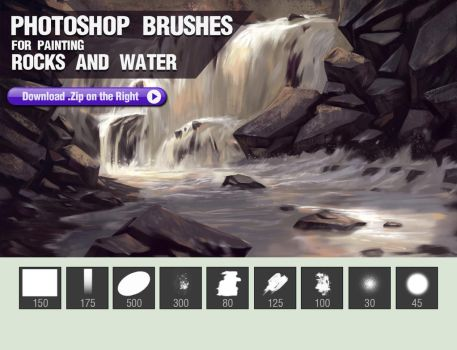 Photoshop Brushes for Painting Rocks and Water by pixelstains
