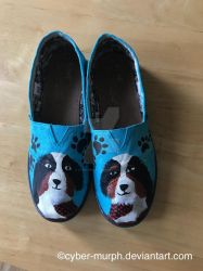 Painted Shoes Commission: Puppy Shoes by Cyber-murph