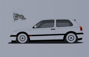 VW Golf mk3 (VW Golf series line art) by TheGiLe
