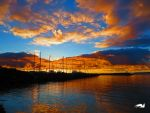 The Beautiful Orange And Blue Sky And Sea by wolfwings1