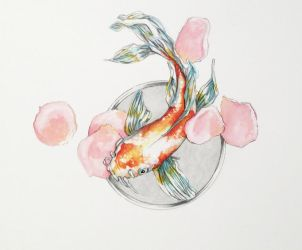 Koi and Petals by Marlene-Cooper