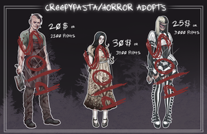 [ADOPT]: Creepypasta/Horror Adoptables (CLOSED) by BleedingHeartworks