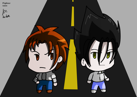 Satsujin and Hideoroa chibis by fighterxaos