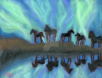 Horses against the Aurora Reflection by FTSArts