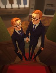 Twins in suits by Miss-Crane