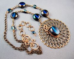 Serenade in Blue Necklace by jujusjewelry