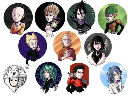 One Punch Man Button Set by panchan14