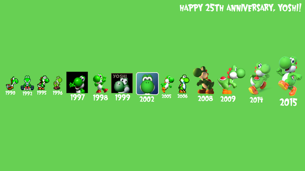 Yoshi's 25th Anniversary Wallpaper by TheWolfBunny