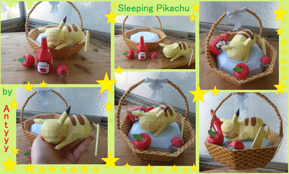 Sleeping Pikachu papercraft pictures by Antyyy