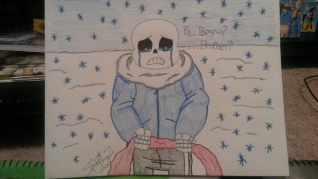 Genocide Sans loses Papyrus by spidyphan2