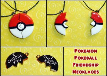 Pokemon - Pokeball Friendship Necklace Charms by YellerCrakka