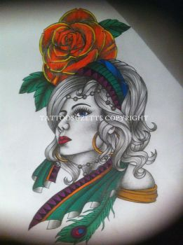 Gypsy Tattoo Design by tattoosuzette