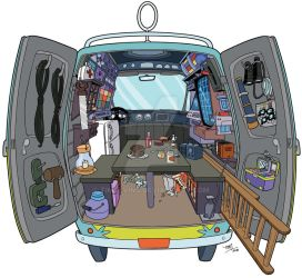 Scooby-Doo Encyclopedia: Mystery Machine interior by TimLevins