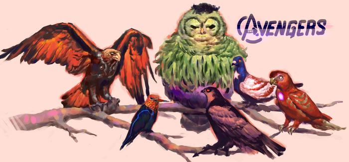 if the avengers were birds by Vetyr