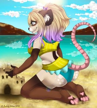 Megan At The Beach by SpiderRaccoon
