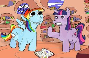 rainbow dash and twilight are talking about books by fristlol